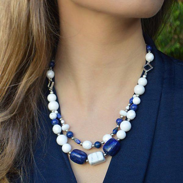 Lapis Lazuli and White Mountain Jade Multi-strand Necklace