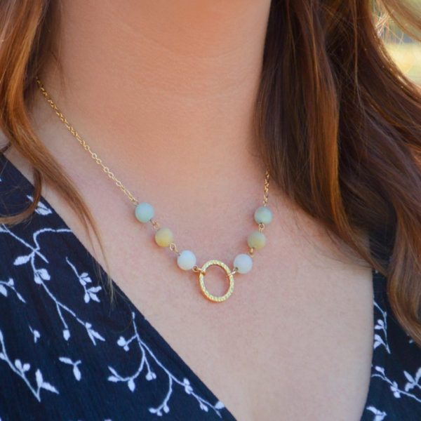 Golden Petite Amazonite Necklace