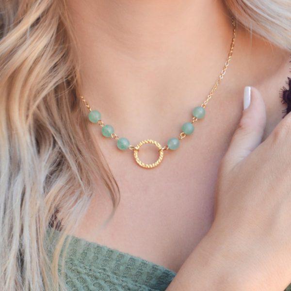 Golden Petite Green Aventurine Necklace