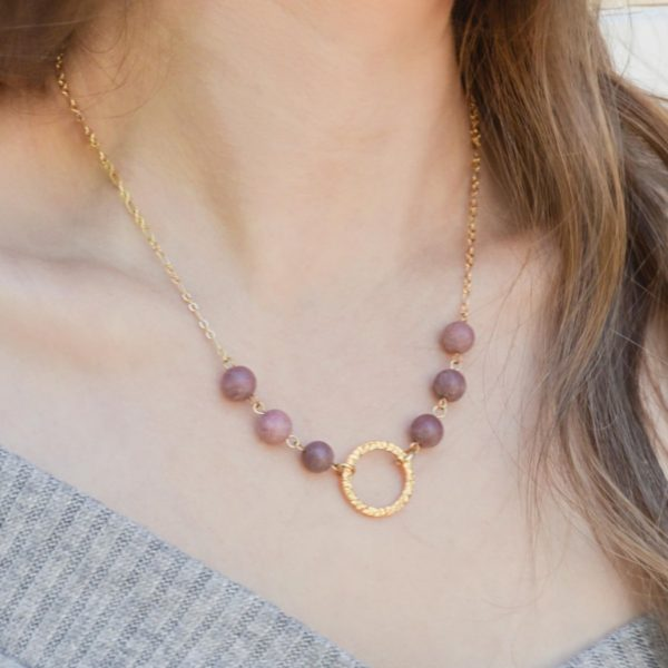 Golden Petite Purple Aventurine Necklace