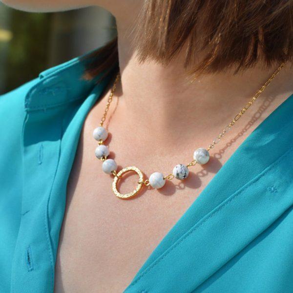 Golden Petite Howlite Necklace