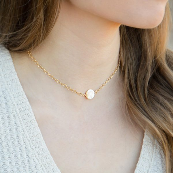 Layered Lovelies 15″ Gold Mother of Pearl Choker Necklace