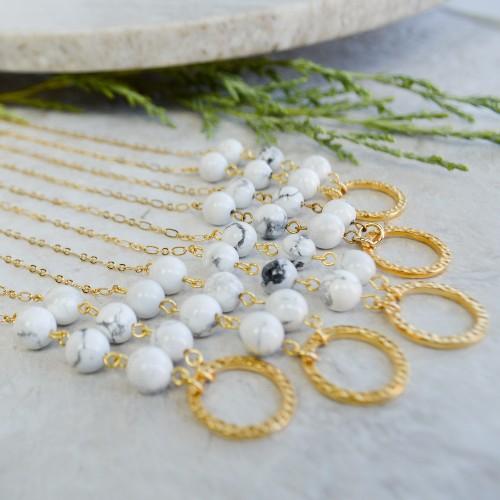 Golden Petite Howlite Necklaces