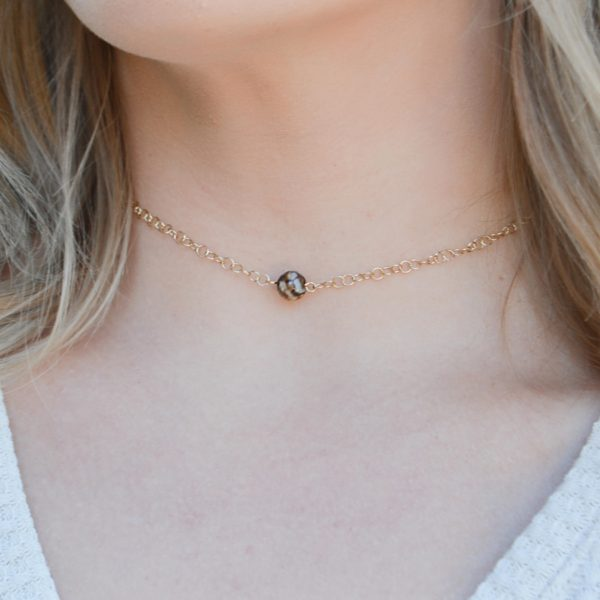 Layered Lovelies 15″ Gold Chocolate Agate Choker Necklace