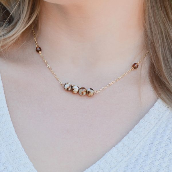 Layered Lovelies 17″ Gold Chocolate Agate Necklace