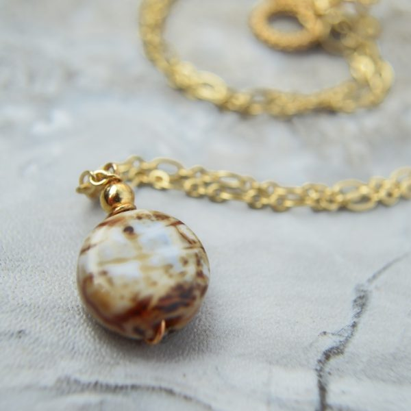 Layered Lovelies 19″ Gold Chocolate Agate Pendant Necklace