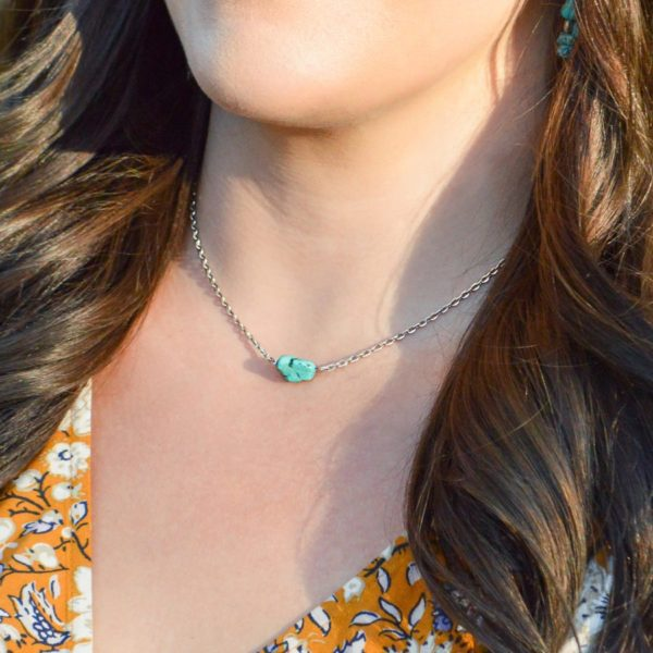 Silver Turquoise Necklace 17″