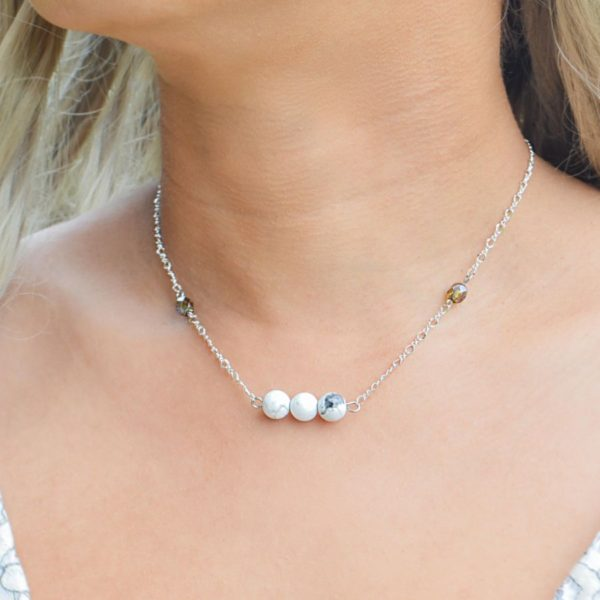 Layered Lovelies 17″ Silver Howlite Necklace