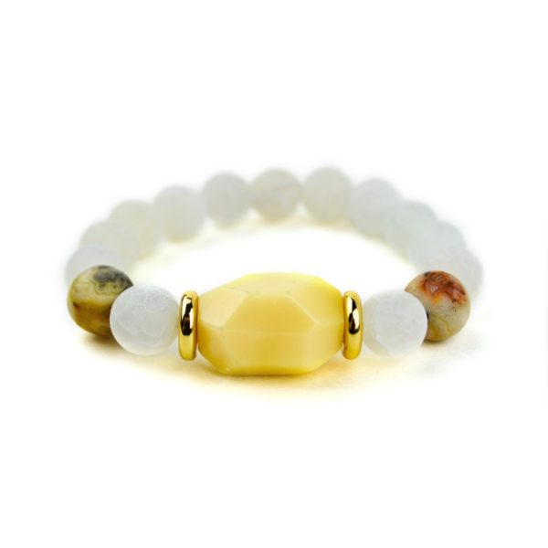 Yellow Jade and Agate Bracelet