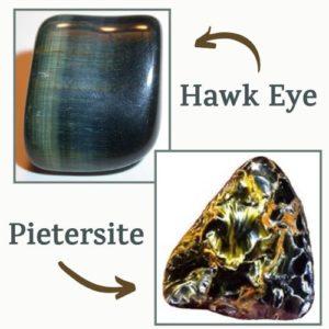 tigers eye variations, hawk eye and pietersite