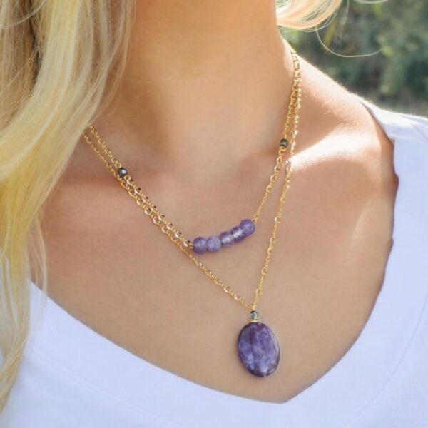 """Layered Lovelies 17"""" and 19"""" Amethyst Necklaces"""