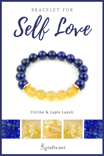 bracelet for self love made with citrine and lapis lazuli